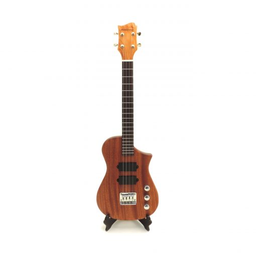 front view of tenor electric ukulele with 2 pickups