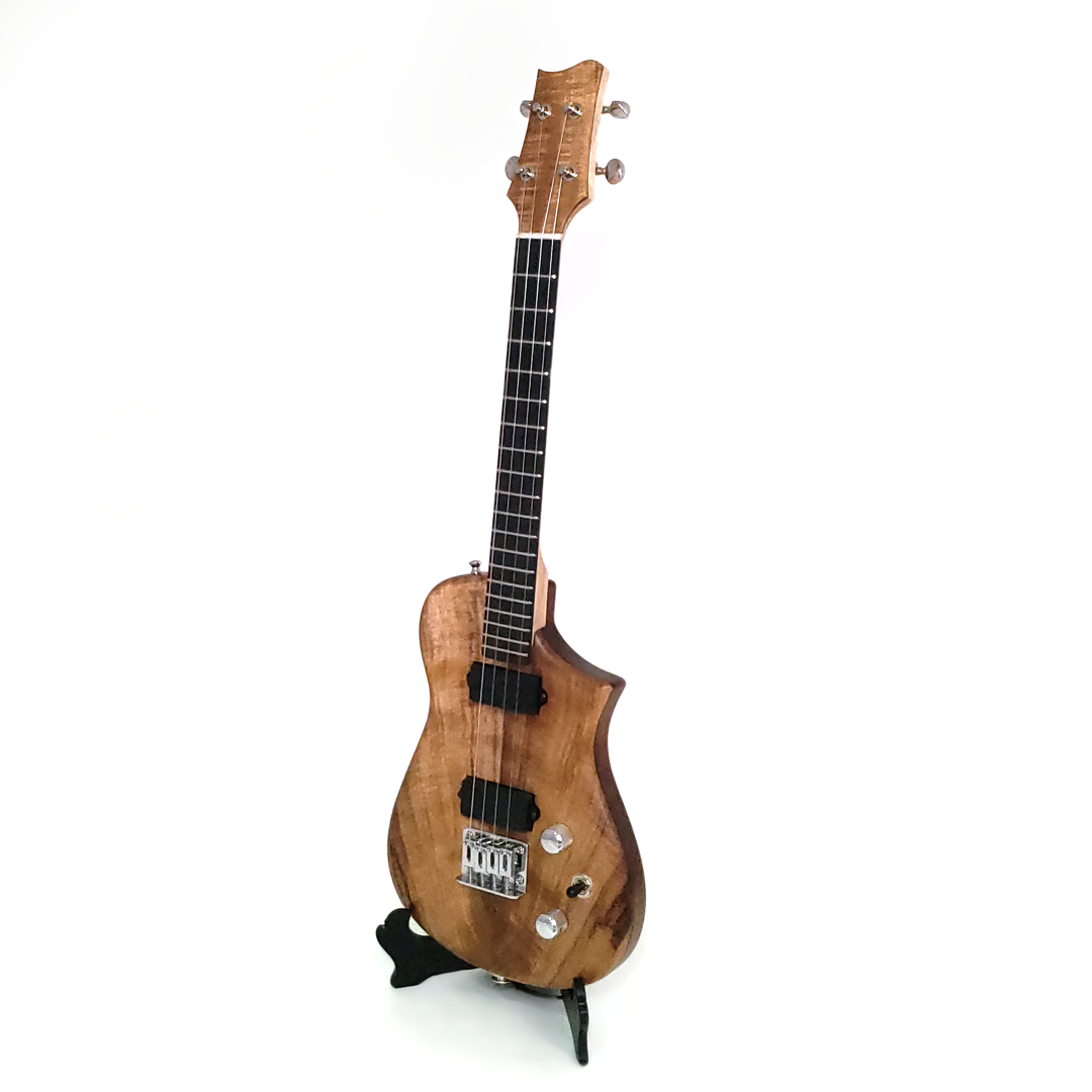 Left view of the koa tenor uke built for Blaine Dillinger