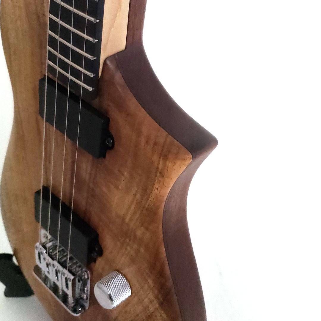 Detiail view of the koa tenor uke built for Blaine Dillinger