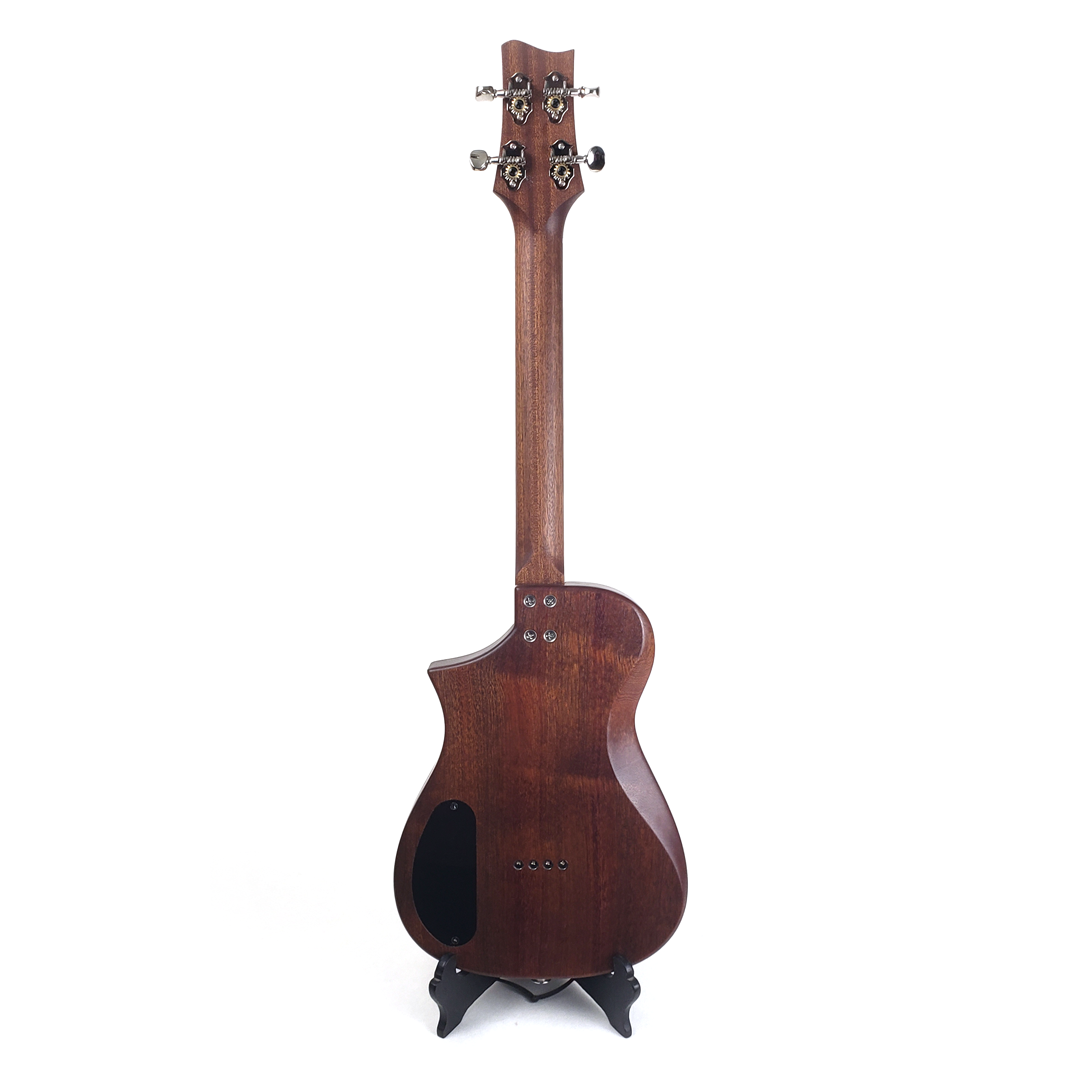 Back view of mahogany tenor ukulele