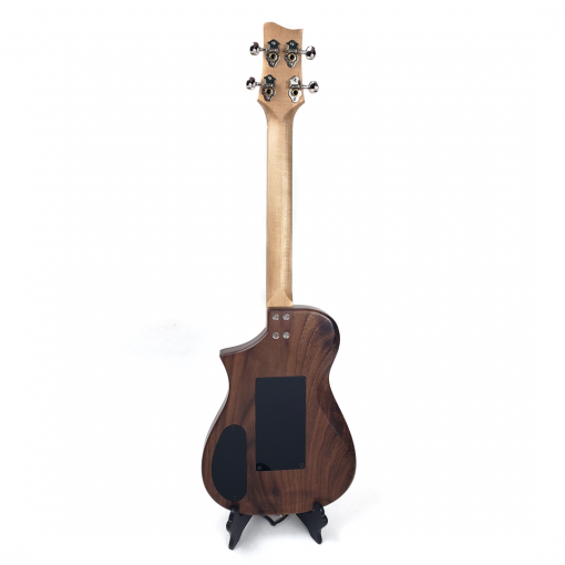Back view of spring cavity on walnut tenor tremolo ukulele
