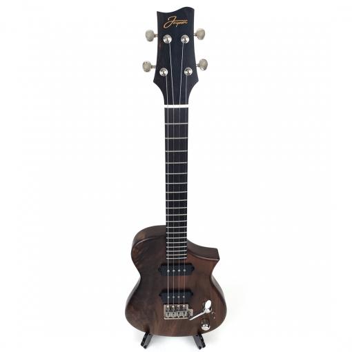 Birdseye view of walnut tenor ukulele with tremolo