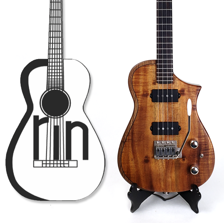 Erin's uke and her logo side by side