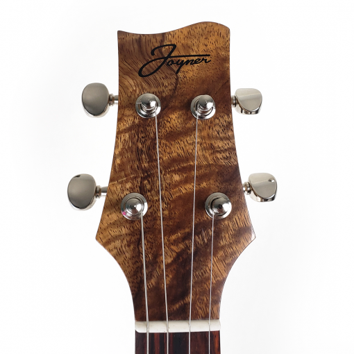 Headstock of koa topped concert ukulele
