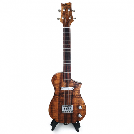 Front view of koa topped concert uke