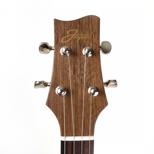 Headstock of the mahogany concert scale ukulele