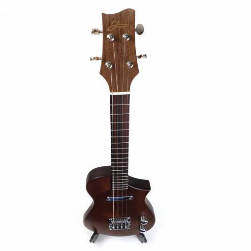 Birdseye view of the mahogany concert scale ukulele