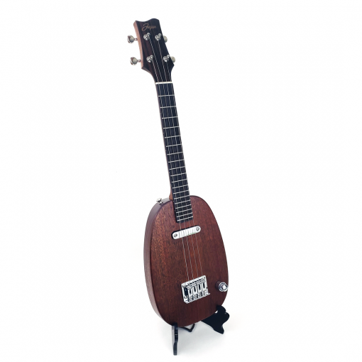 Left view of mahogany pineapple uke